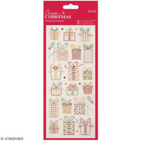 Stickers peel off de Noël pailletés - Cadeaux de Noël - 25 pcs - Docrafts Papermania