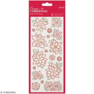 Stickers peel off de Noël pailletés - Fleurs de Noël - 18 pcs
