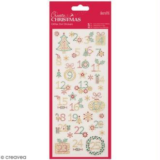 Stickers peel off de Noël pailletés - Chiffres de Noël - 37 pcs