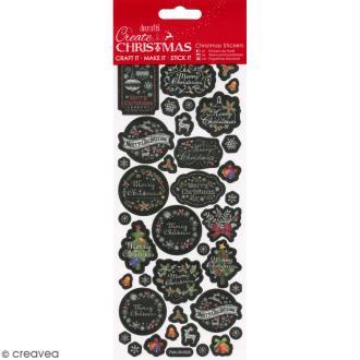 Autocollants de Noël en papier - Pailletés - Voeux effet ardoise - 38 pcs