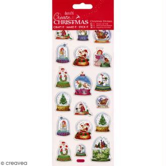 Autocollants de Noël foil - Globes À Neige - 18 pcs
