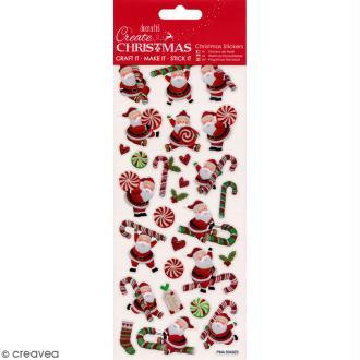 Autocollants de Noël pailletés - Pères Noël et canes à sucre - 28 pcs