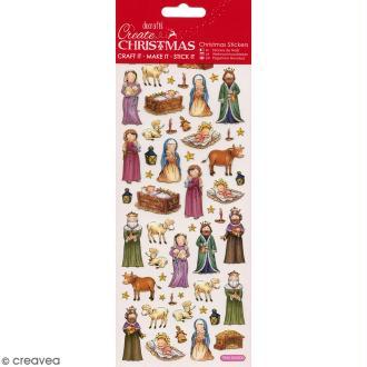 Autocollants de Noël foil - Crèche de Noël - 56 pcs
