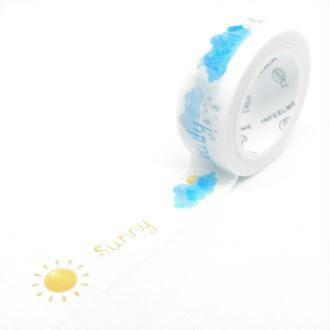 Washi Tape météo et texte 7Mx15mm multicolore
