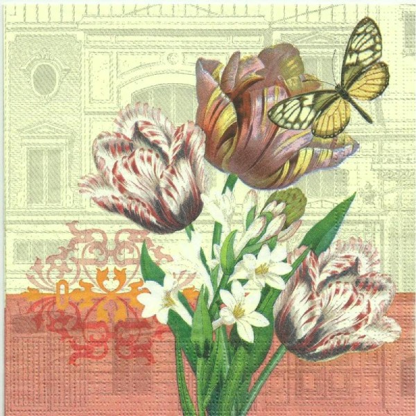 4x Designer Serviettes en papier pour découpage Vintage Papillons Floral Fleurs
