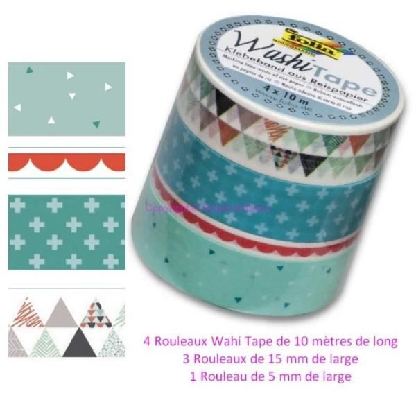 Lot de 4 Rouleaux  Washi Tape en Papier de riz, Rubans en papier autocollant 4 x10mètres, 4 Couleurs - Photo n°1