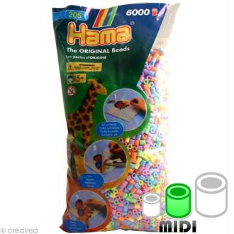 Perles Hama Midi diam. 5 mm - Assort. pastel x6000
