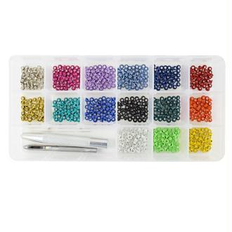 Kit basic Mini oeillets 2,5 mm - 15 couleurs + 2 outils - 750 oeillets