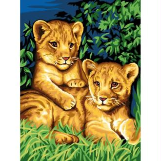 Peinture au numéro - Les deux lionceaux