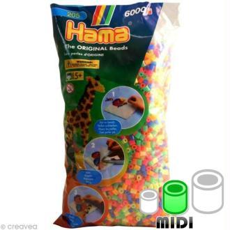 Perles Hama Midi diam. 5 mm - Assort. fluo transparentes x6000