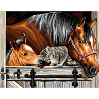Peinture numéro adulte - Un trio en or