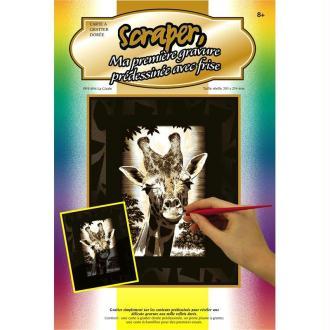 Gravure à gratter Scraper Or 20 x 25 cm - Girafe