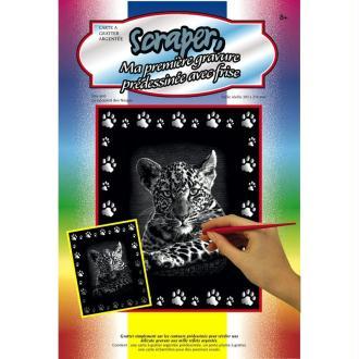 Carte à gratter Scraper Argent 20 x 25 cm - Léopard des neiges