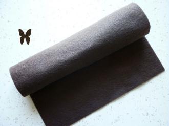 Feutrine marron taupe 2 mm -  30 x 22 cm écologique polaire, souple