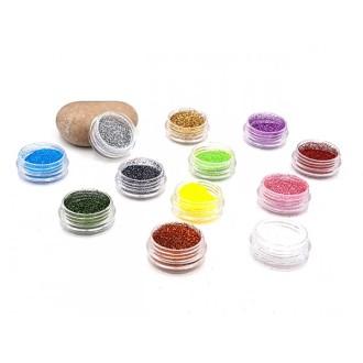 12 Boîtes De Poudre De Paillettes Multicolores