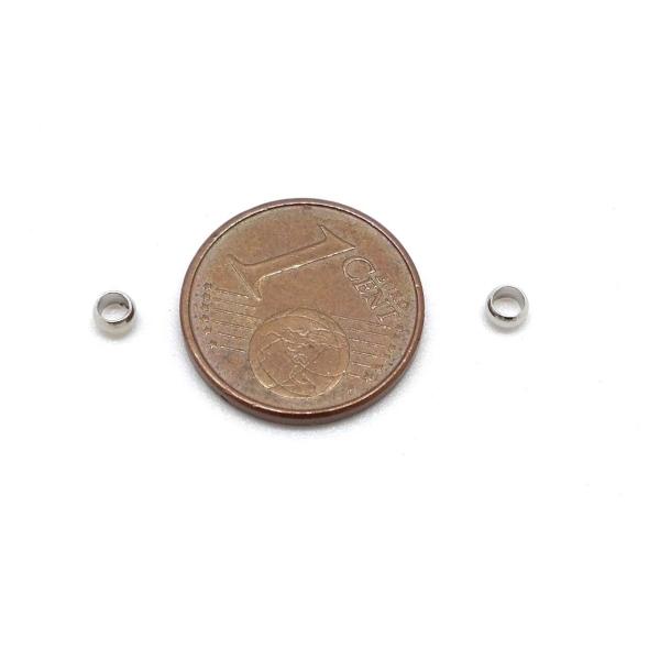 R-145 Perles À Écraser Métal Argenté 3mm - Photo n°2