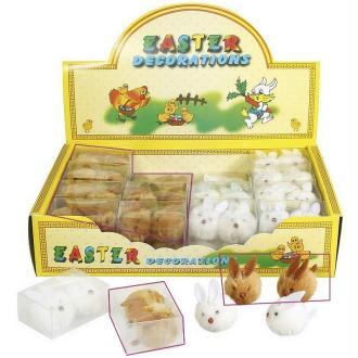 Lot de 2 petits lapins en peluche couleur brun,  dim.3x3,5x2,5cm , déco de Paques