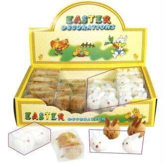 Lot de 2 petits lapins en peluche couleur blanc,  dim.3x3,5x2,5cm , déco de Paques