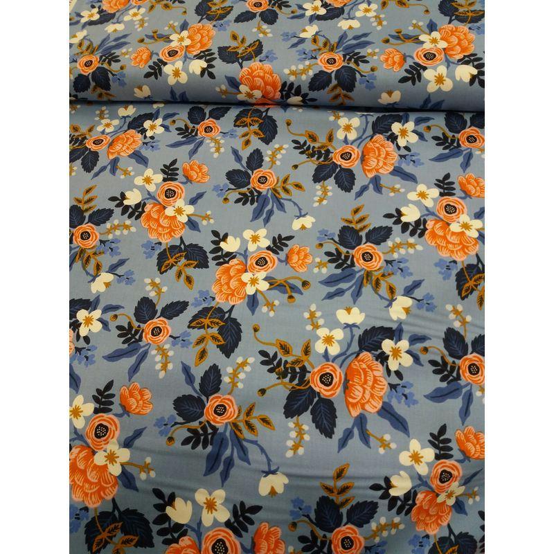 tissu alice grosses fleurs fond bleu tissu au m tre creavea. Black Bedroom Furniture Sets. Home Design Ideas