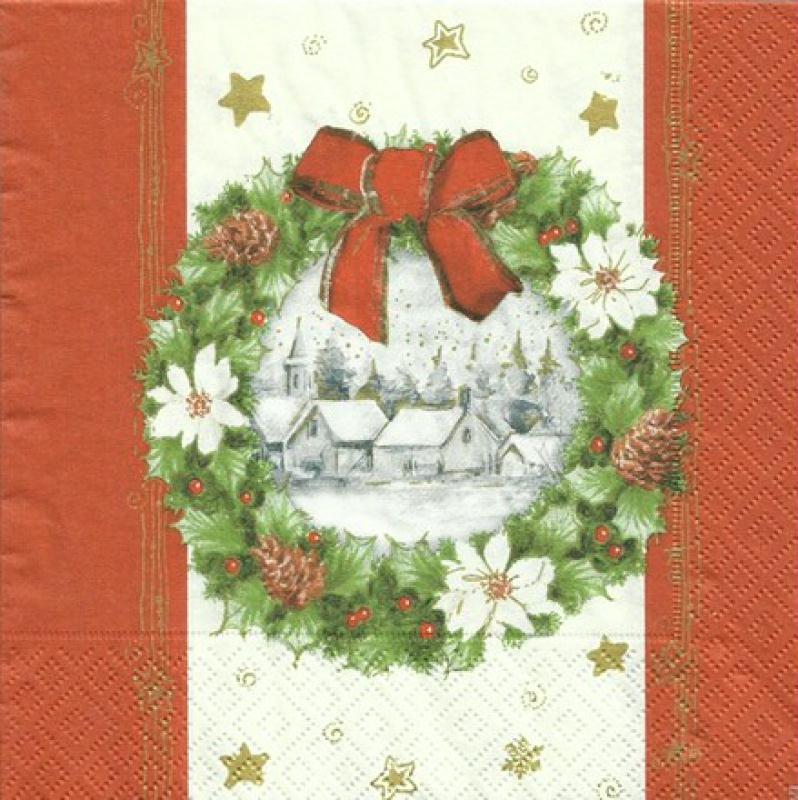 4 serviettes en papier d coupage collage 33 cm couronne de noel 108 serviette en papier no l - Decoupage papier deco noel ...
