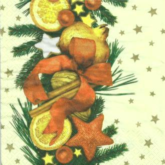 4 serviettes en papier découpage collage 33 cm FRUITS NOEL 8