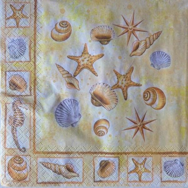 4 serviettes en papier découpage collage 33 cm VOILIER PHARE COQUILLAGE MER MOUETTE 16 - Photo n°2