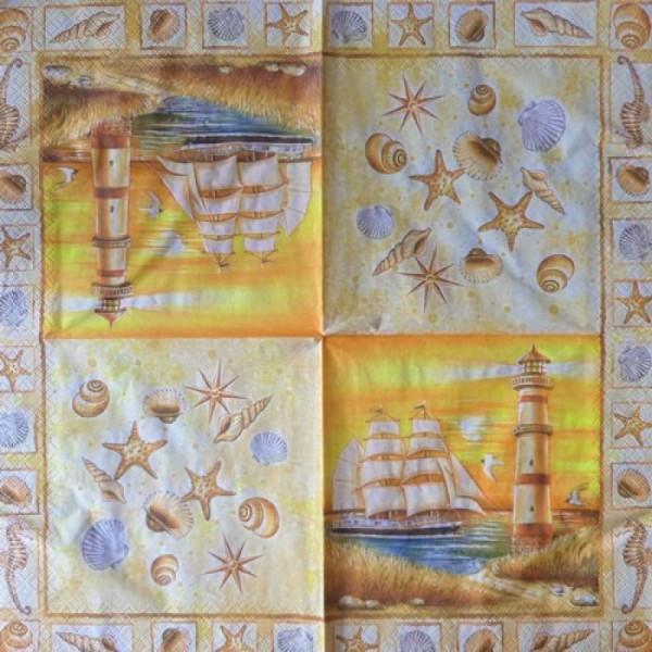 4 serviettes en papier découpage collage 33 cm VOILIER PHARE COQUILLAGE MER MOUETTE 16 - Photo n°3
