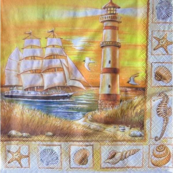4 serviettes en papier découpage collage 33 cm VOILIER PHARE COQUILLAGE MER MOUETTE 16 - Photo n°1