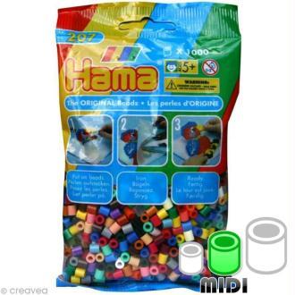 Perles Hama Midi diam. 5 mm - Assort. classique x1000