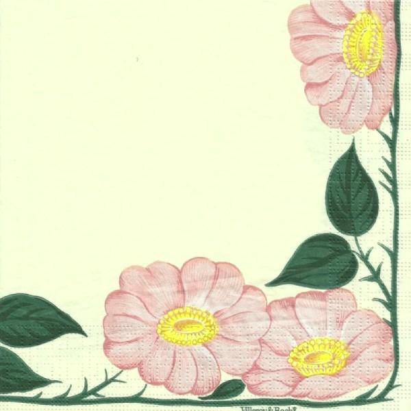 4 serviettes en papier découpage collage 33 cm BORDURE DE FLEURS 203 - Photo n°1