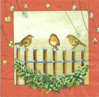 4 serviettes en papier découpage collage 33 cm OISEAU HIVER NOEL 23