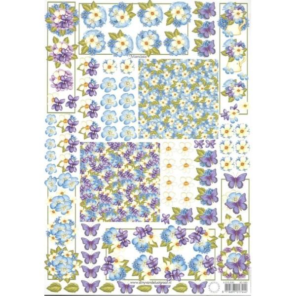 Feuille 3D à découper A4 Fleurs Papillon Mandala - Photo n°1