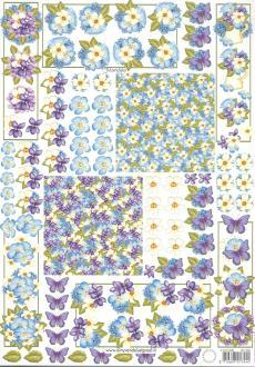 Feuille 3D à découper A4 Fleurs Papillon Mandala