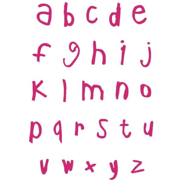 Ecriture Stylée Alphabet pochoir autocollant pour textile my style alphabet script minuscules