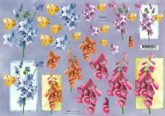Feuille 3D à découper A4 Fleur Digitale & Dauphinelle