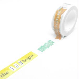 Washi Tape motifs messages variés « hello week end » et etiquettes 7Mx15mm multicolore