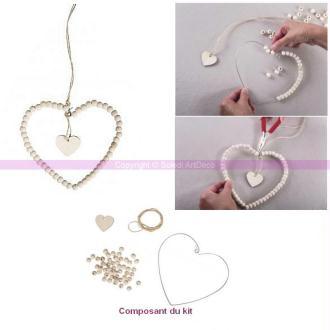 Kit DIY Coeur en fil Métal orné de Perles en Bois à suspendre 14cmx14cm , 1m cordon de chanvre, déco