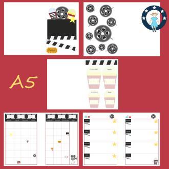 Kit pages à imprimer Cinéma pour planner A5 non datés français
