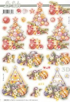 Feuille 3D pré-découpée A4 Décor de Noël