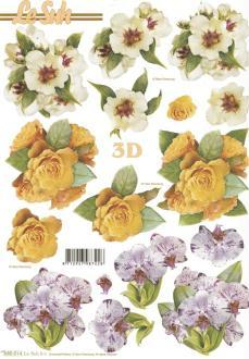 Feuille 3D pré-découpée A4 Fleurs