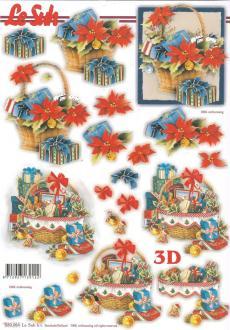 Feuille 3D pré-découpée A4 Panier de Noël