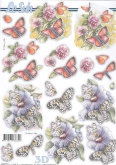 Feuille 3D pré-découpée A4 Fleurs Papillon