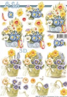 Feuille 3D pré-découpée A4 Fleurs en pot