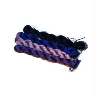Fil macramé nylon tressé 1 mm lot 4 x 25 m bleu foncé , nuit , violet , mauve