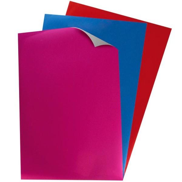 Papier transfert textile métallisé My Style Rouge, bleu et lilas 21 x 29,7 cm - 3 feuilles - Photo n°1