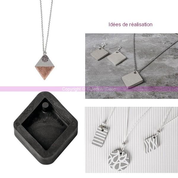 Moule à bijoux losange pour béton, Pendentif en caoutchouc flexible, 3,9 cm, remplissage 7 mm - Photo n°2