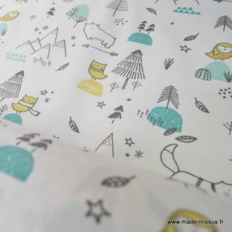 Tissu 100%coton imprimé chiens, sapins, étoiles  .x1m