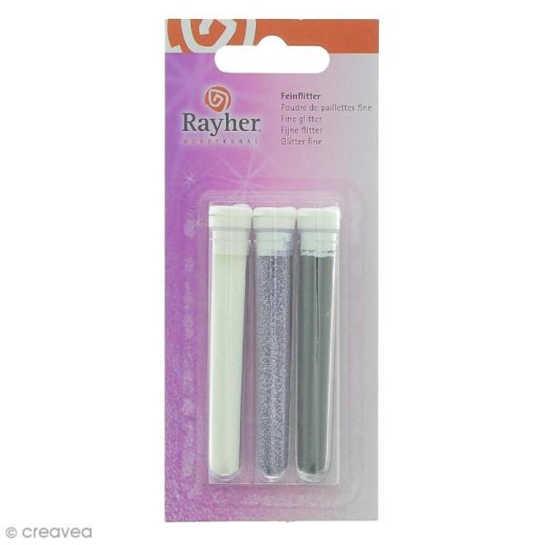 Poudre de paillettes fines - Noir, Violet et Blanc - 3 tubes de 3 grammes - Photo n°1