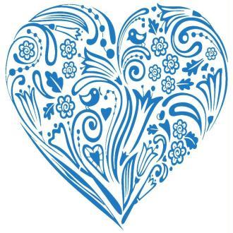 Pochoir textile adhésif My Style Coeur fleuri 21 x 14,8 cm