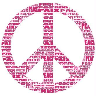 Pochoir autocollant pour textile My Style Peace and love 21 x 29,7 cm
